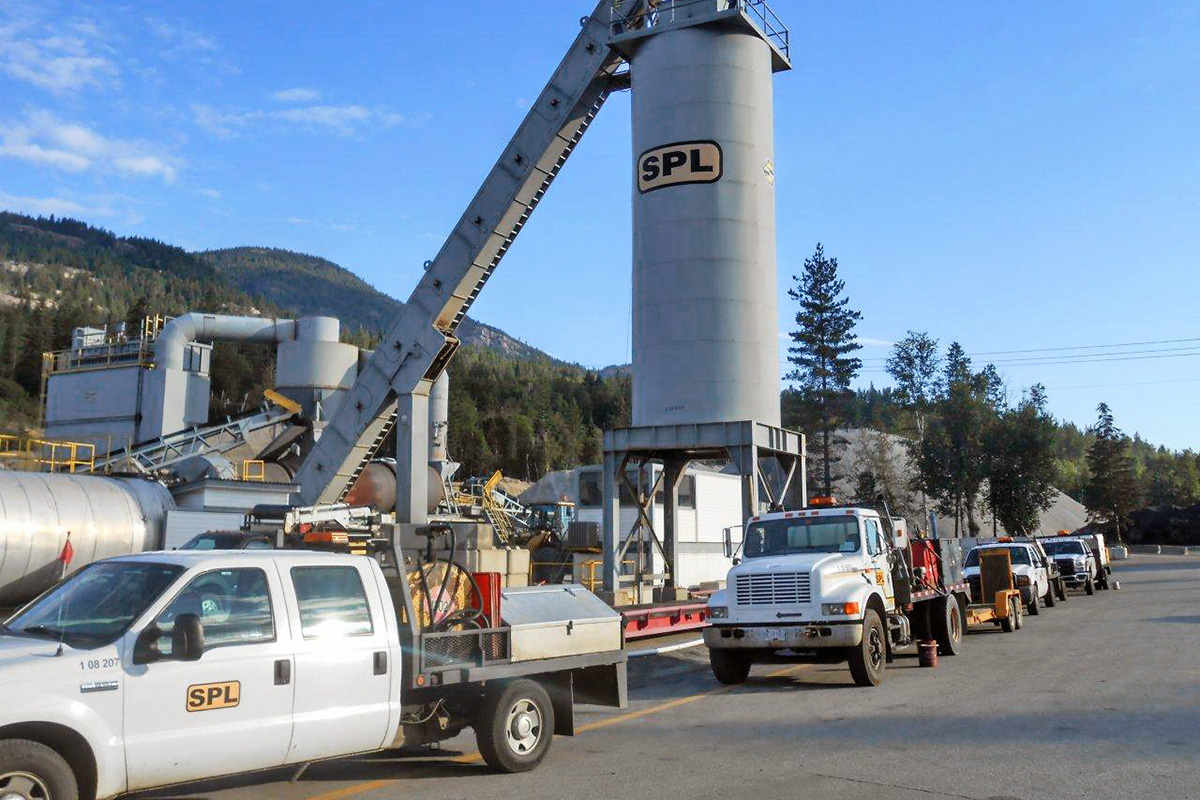 trucks parked at a Selkirk Paving tower