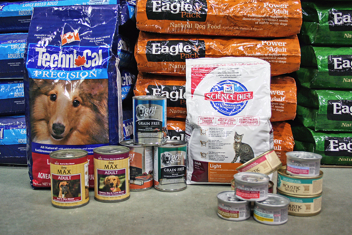 Cat and dog food in bags and cans