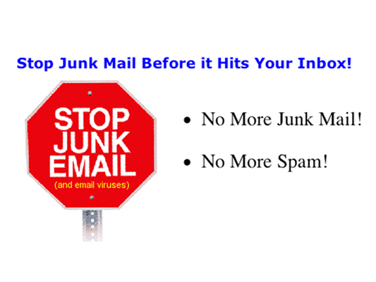 Stop sign reading stop junk mail and email viruses