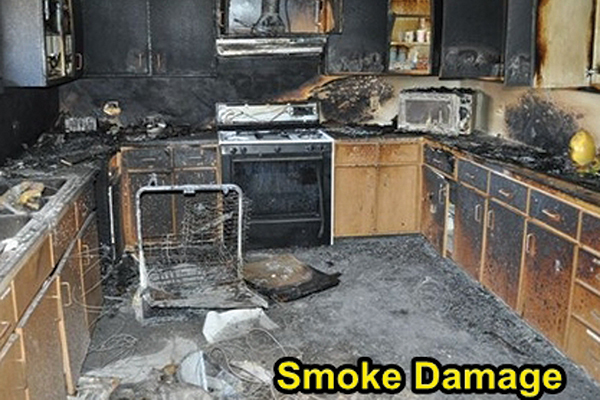 Inside of a kitchen destroyed by smoke damage