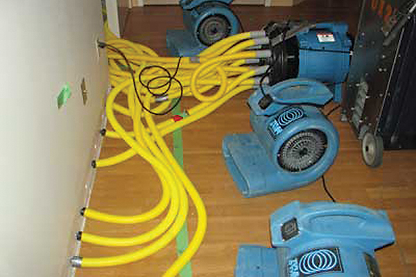 yellow hoses and blue equipment on hardwood flooring
