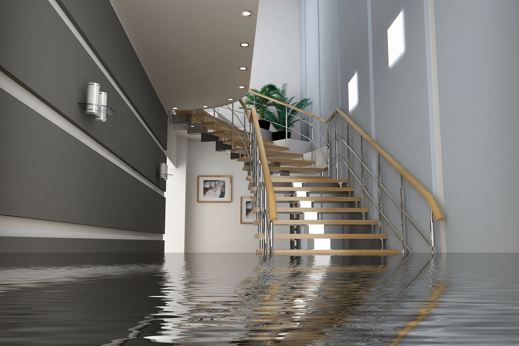 Flood on the main floor in a home