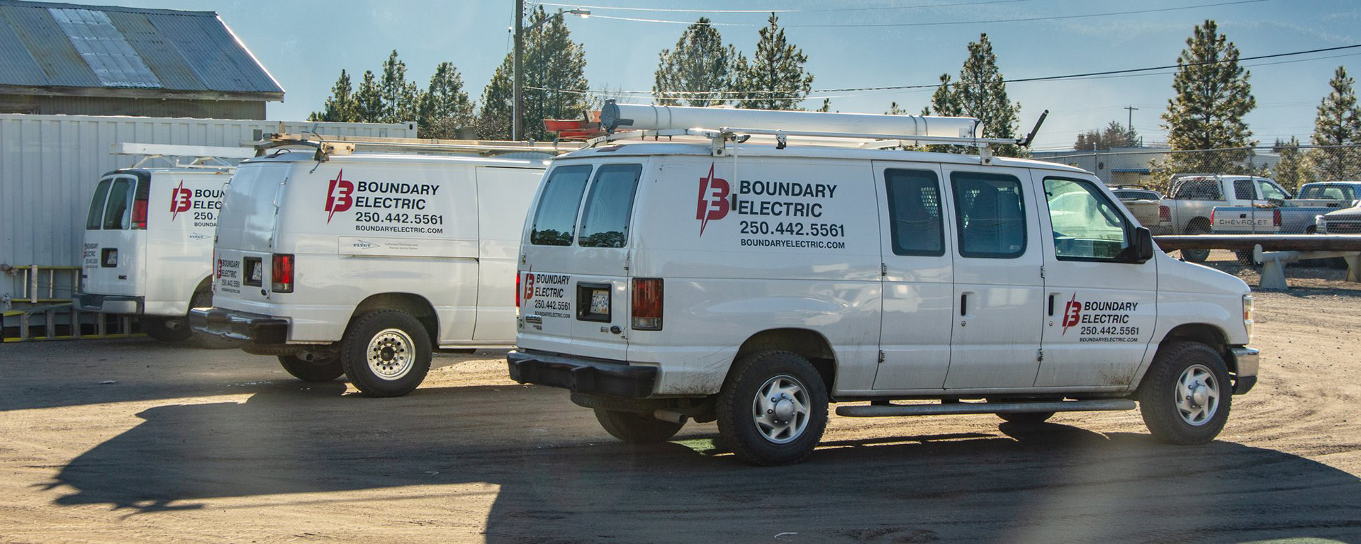 Boundary Electric service vans parked