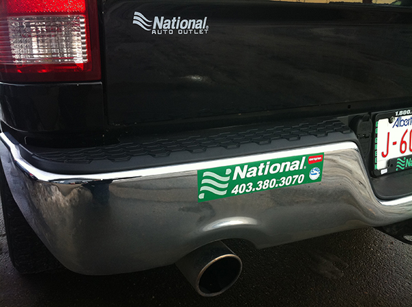 Bumper of a vehicle advertising National Car and Truck Rental