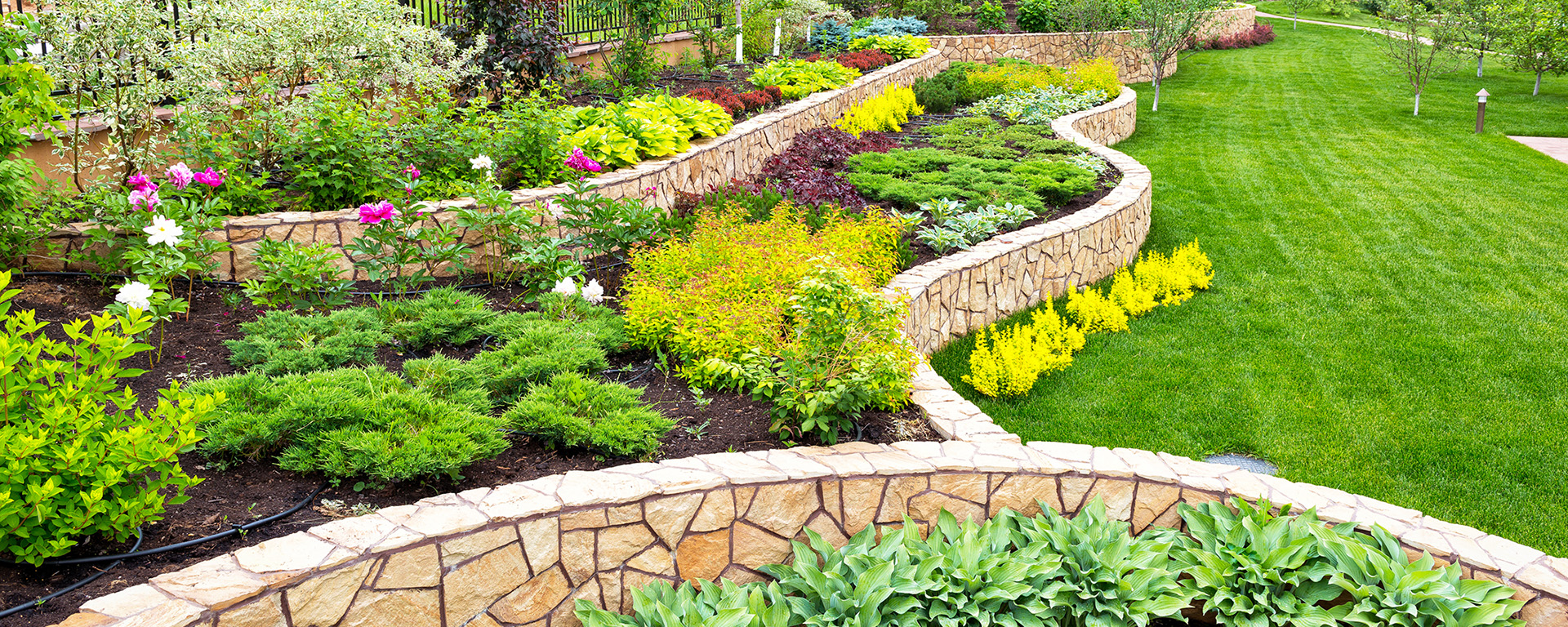 Beautiful back yard with retaining walls and vegetation