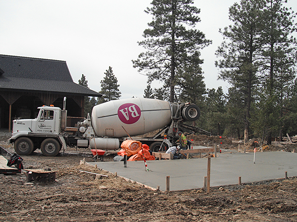 Concrete ready mix truck ready to pour concrete