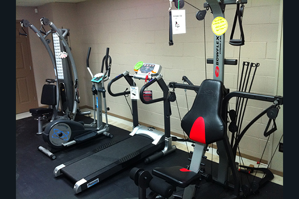 Inside store displaying workout equipment
