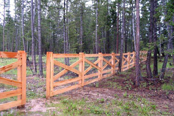 Wooden fencing around property