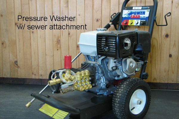 pressure washer with sewer attachment
