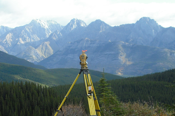 Surveying equipment on the ridge of a mountain