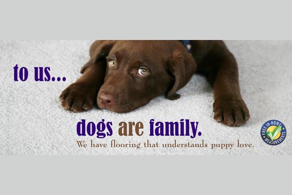 poster advertising Nufloors Creston's pet-friendly carpet
