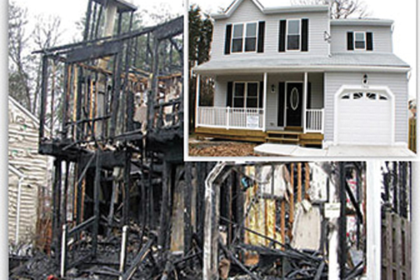 A before and after photo of a house damaged by fire