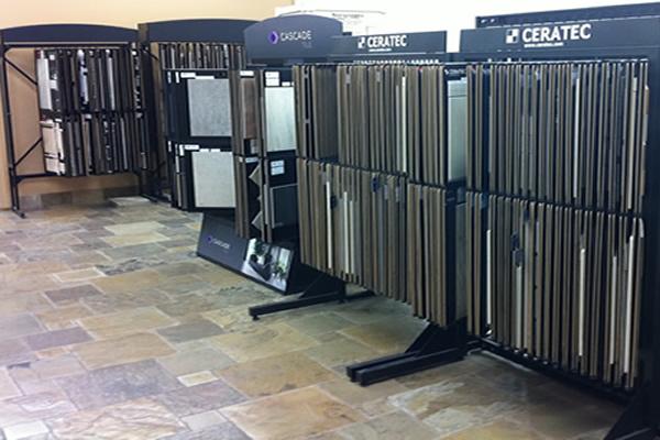 Samples of floor tile on display at Cranbrook Flooring