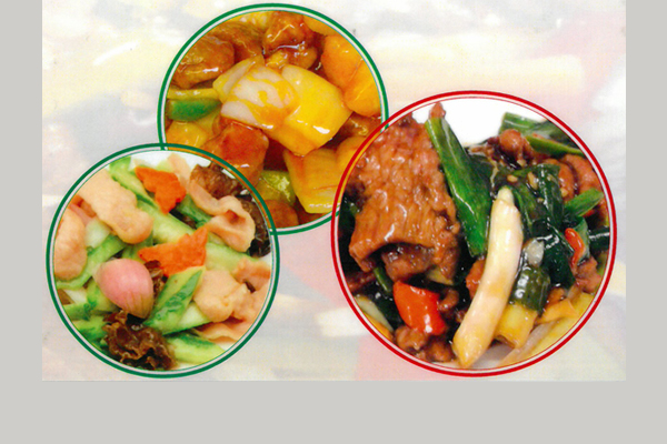 Three dishes of assorted Chinese food