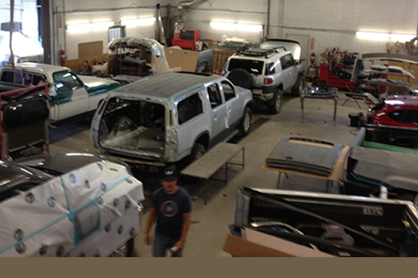 Vehicles in the shop at CSN Kustom