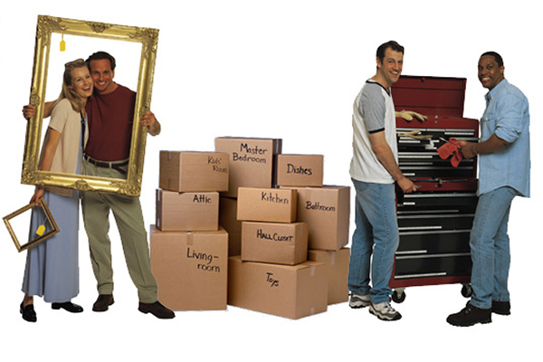 Four people moving boxes and household items