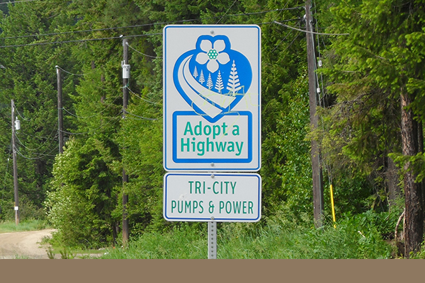 Exterior sign advertising adopt a highway Tri City Pump and Power