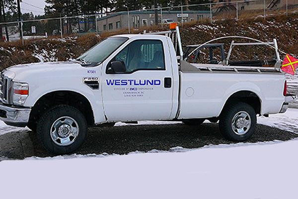 White company truck for Westlund