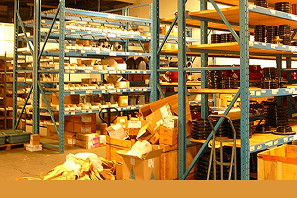 Inventory stored on shelves in warehouse at Westlund