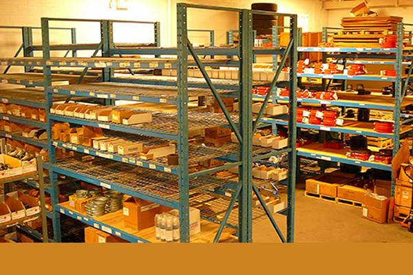 Inventory stored on shelves in warehouse