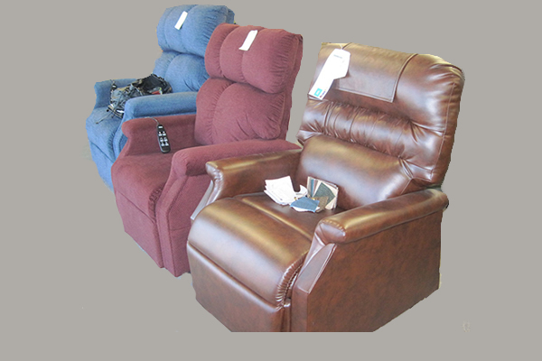 Three recliners on display within the store at Kootenay Columbia Home Medical Equipment