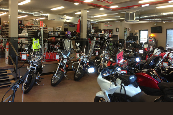 Inside store display of motorcycles