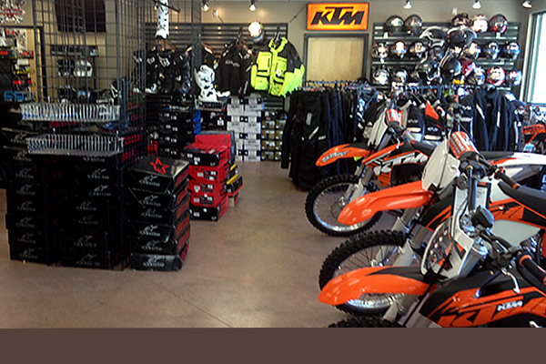 Inside store at Main Jet Motorsports displaying motorcycles