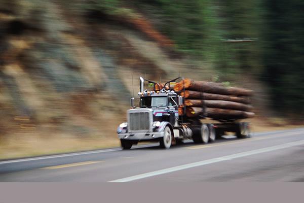 Semi hauling logs down the highway