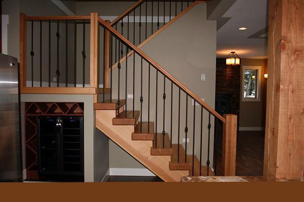 Wooden stairway going upstairs