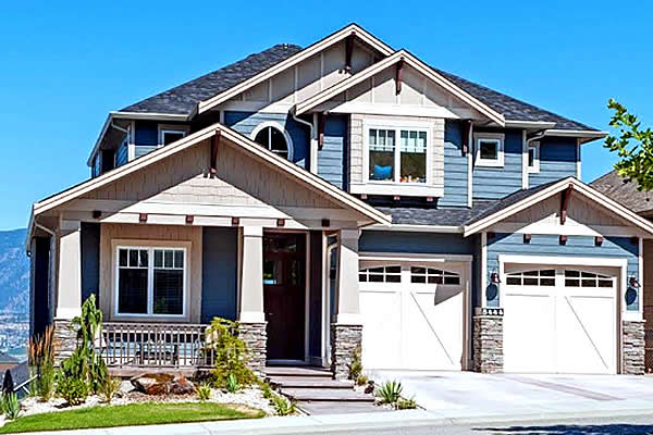 Exterior of a show home with double car garage