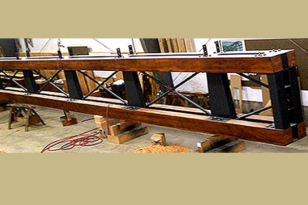horizontal wooden and metal structural beam