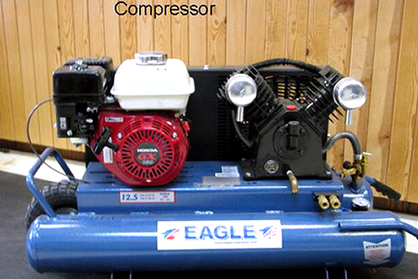 Air compressors on display