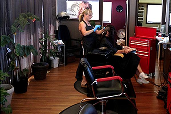 A stylist cutting a client's hair