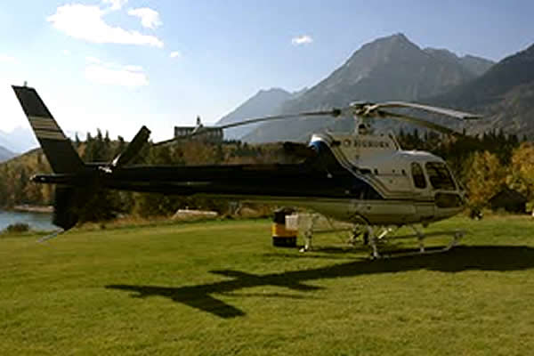 Blue and white helicopter on grass with mountains in the background