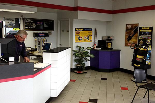 inside the reception area at Speedy Brake, Muffler & Wheel