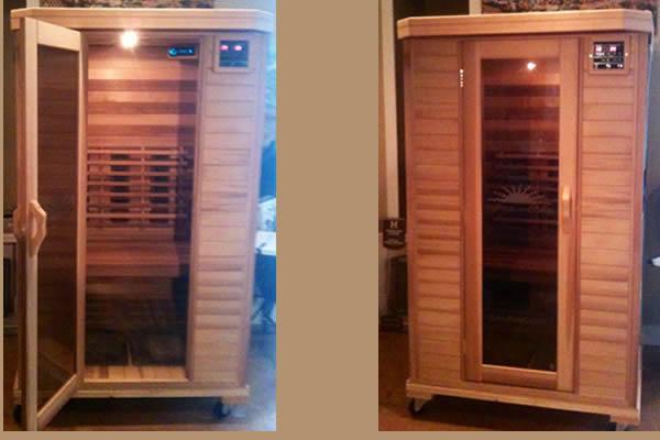 two wooden saunas displayed with one open door and one closed door