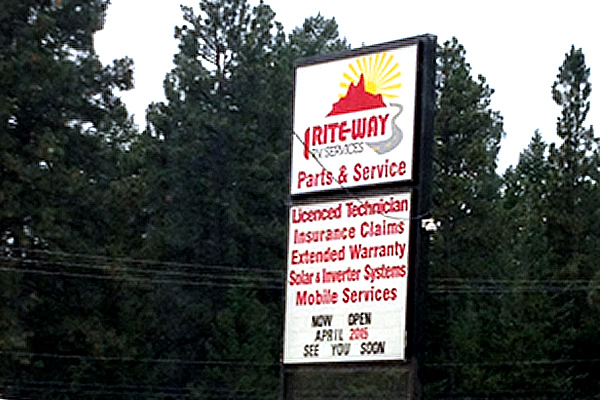 exterior sign outside of Rite Way RV Services listing services offered