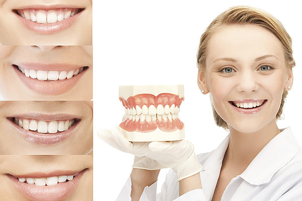 a woman holding a set of display dentures next to four zoomed in smiles