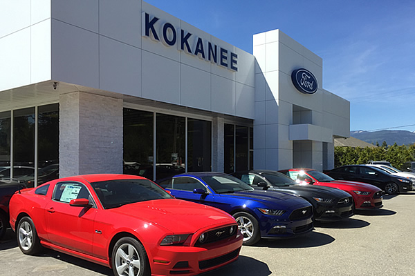 Ford cars parked outside of building at Kokanee Ford Sales