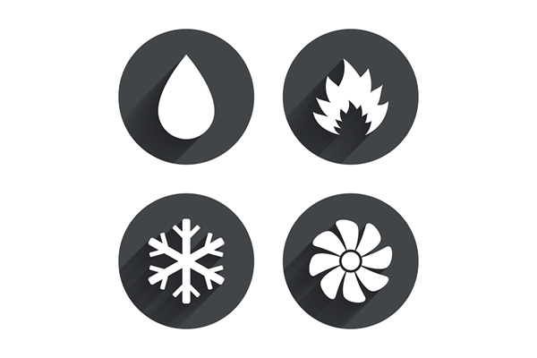 four icons including a water droplet, flame, snowflake and fan
