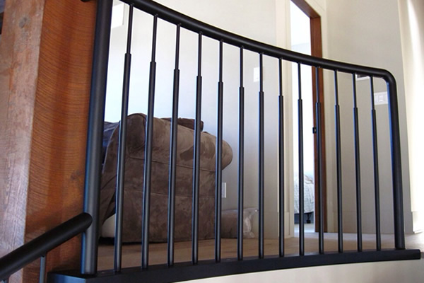 black metal railings with a protective coating