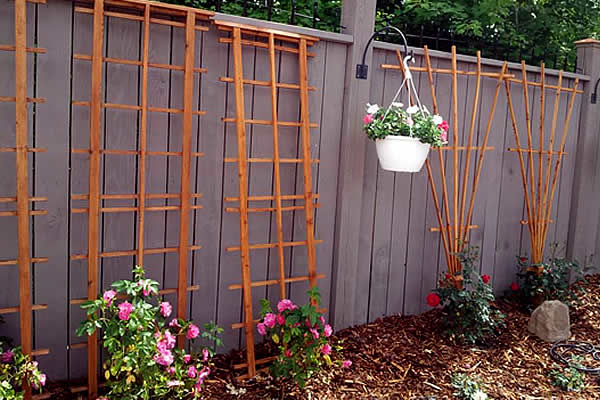 wooden lattices for plant growth for vines to crawl up