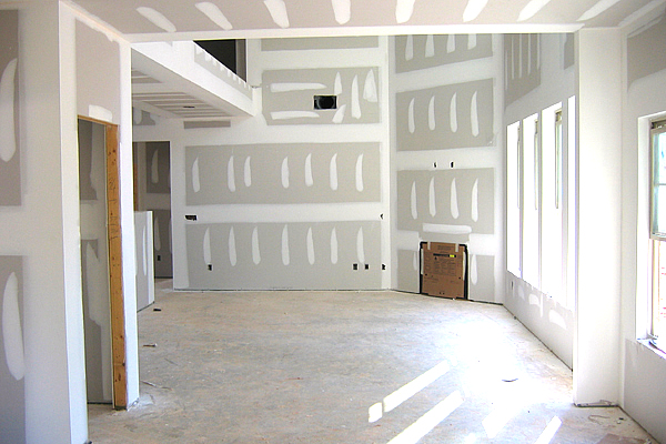 interior drywall project on walls within a living room