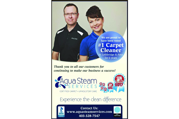 poster advertising Aqua Steam Services as being the number one carpet cleaner