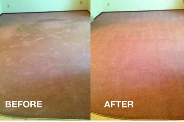 picture of a carpeted room, Before and after having carpet cleaned