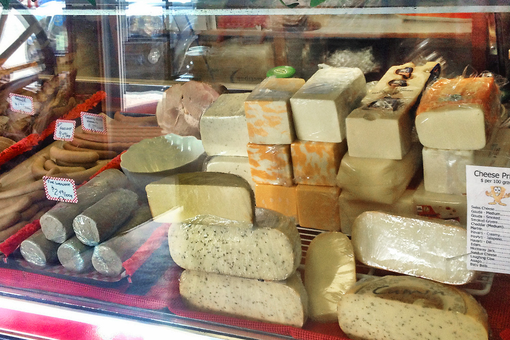 Cheeses on display at Rick's Fine Meats and Sausage