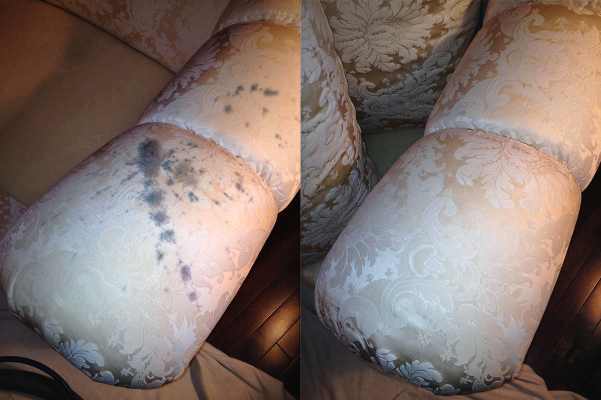 Before and after picture of wine spilled on the arm of a chair