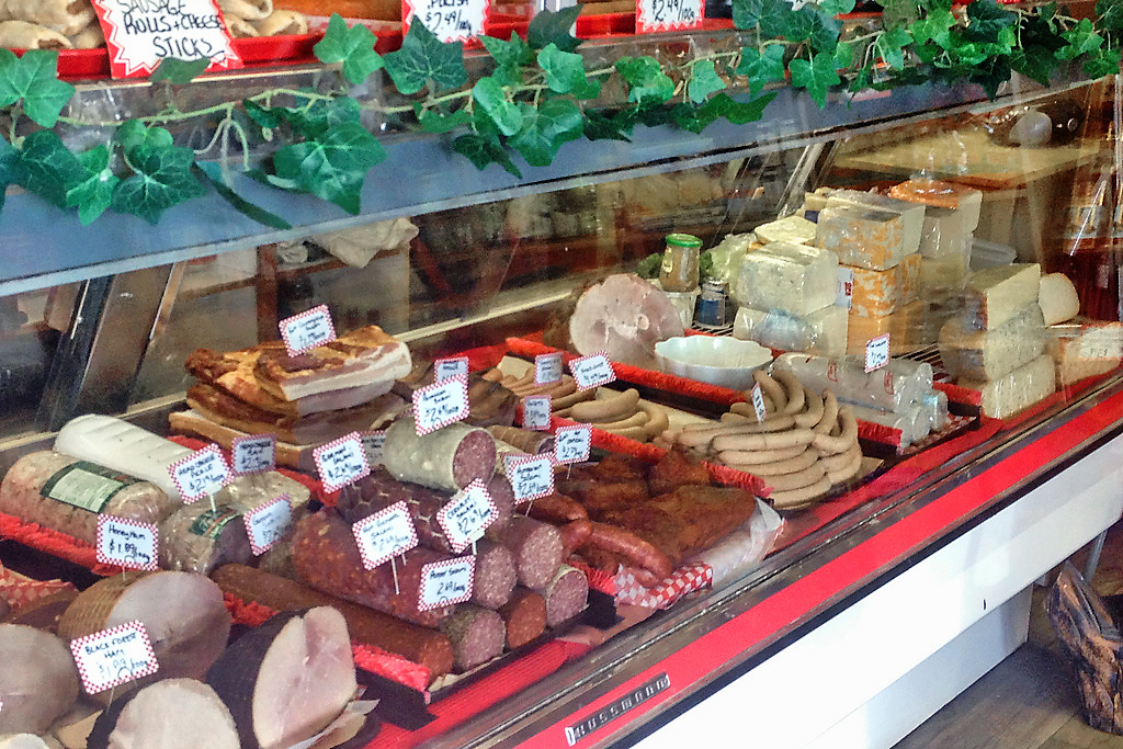 Meats and cheses on display at Rick's Fine Meats and Sausage