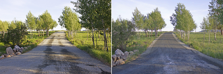 road before after