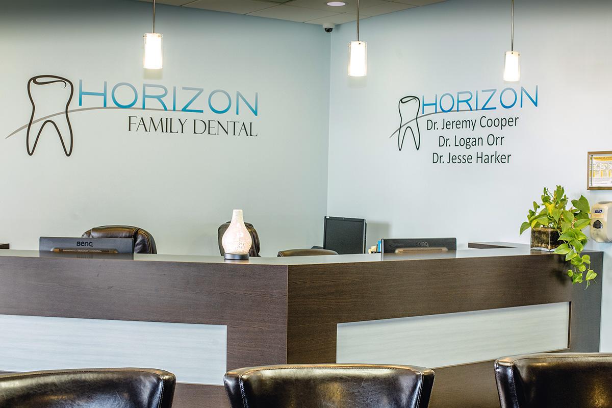 Reception area at Horizon Family Dental